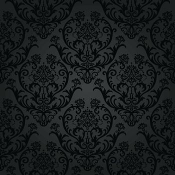 Luxury black charcoal floral wallpaper pattern. This image is a vector illustration.