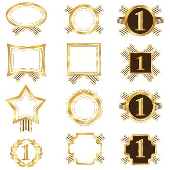 Set of golden frames. This image is a vector illustration.