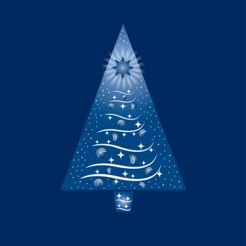 Blue and white Christmas tree greeting card. This image is a vector illustration.
