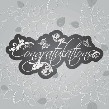 Congratulations floral swirls on seamless leaves pattern wallpaper. This image is a vector illustration.