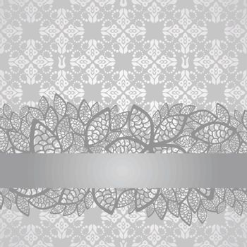 Silver lace border on floral silver wallpaper. This image is a vector illustration.