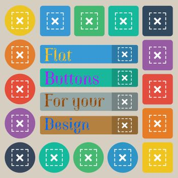 Cross in square icon sign. Set of twenty colored flat, round, square and rectangular buttons. Vector