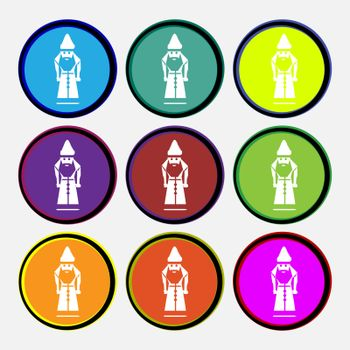 Santa Claus icon sign. Nine multi colored round buttons. Vector