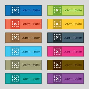 Cross in square icon sign. Set of twelve rectangular, colorful, beautiful, high-quality buttons for the site. Vector