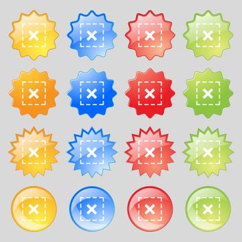 Cross in square icon sign. Big set of 16 colorful modern buttons for your design. Vector
