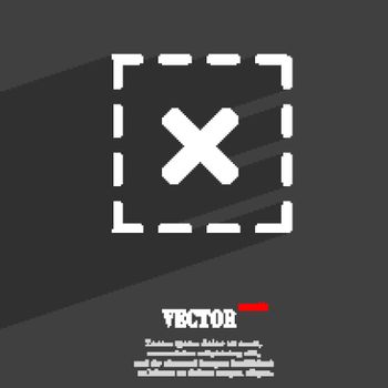 Cross in square symbol Flat modern web design with long shadow and space for your text. Vector