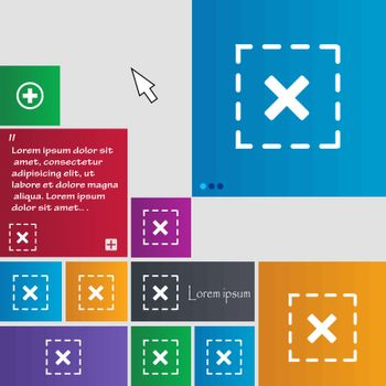 Cross in square icon sign. buttons. Modern interface website buttons with cursor pointer. Vector