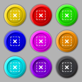 Cross in square icon sign. symbol on nine round colourful buttons. Vector