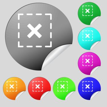 Cross in square icon sign. Set of eight multi colored round buttons, stickers. Vector