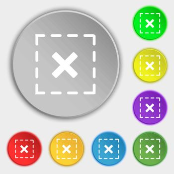 Cross in square icon sign. Symbol on eight flat buttons. Vector