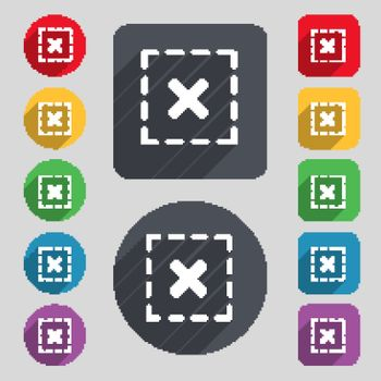 Cross in square icon sign. A set of 12 colored buttons and a long shadow. Flat design. Vector