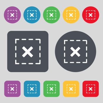 Cross in square icon sign. A set of 12 colored buttons. Flat design. Vector