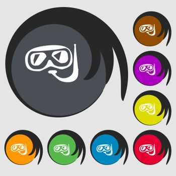 Diving sign icon. Symbols on eight colored buttons. Vector