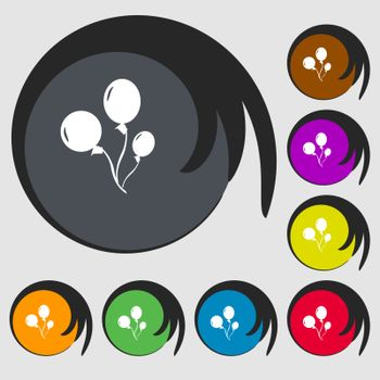 Balloons sign icon. Symbols on eight colored buttons. Vector
