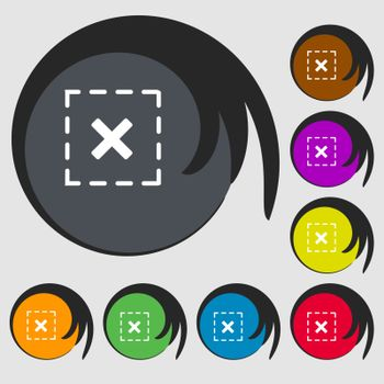Cross in square sign icon. Symbols on eight colored buttons. Vector