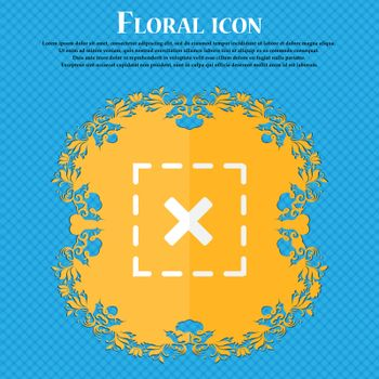 Cross in square icon. Floral flat design on a blue abstract background with place for your text. Vector