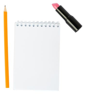 Open copybook with lipstick