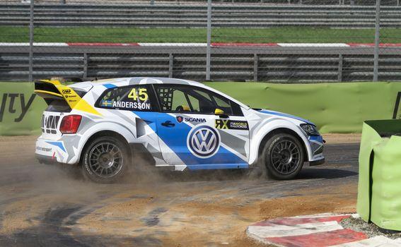 ISTANBUL, TURKEY - OCTOBER 03, 2015: Per Gunnar Andersson drives Volkswagen Polo of Marklund Motorsport Team in FIA World Rallycross Championship.