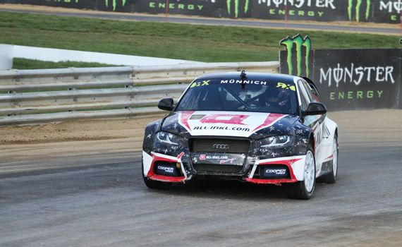 ISTANBUL, TURKEY - OCTOBER 03, 2015: Rene Munnich drives Audi S3 of all-inkl.com Munnich Motorsport Team in FIA World Rallycross Championship.
