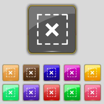Cross in square icon sign. Set with eleven colored buttons for your site. Vector