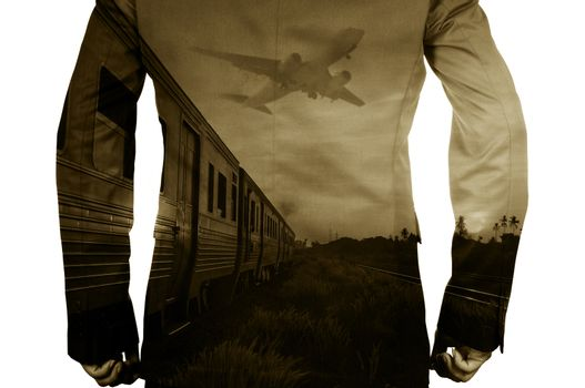 Double Exposure of BusinessMan and Train, Airplane as Business Transportation or Logistics Concept. Filmlook effect and Sepia style