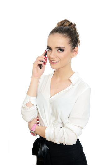 Smiling office lady with phone