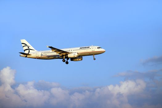 Larnaca, Cyprus - May 29, 2016: Aegean Airlines Airbus A320 lands in Larnaca International Airport. It is the largest Greek airline