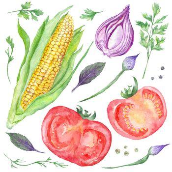 Watercolor Vegetarian Food
