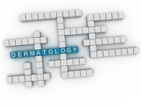 3d image Dermatology word cloud concept