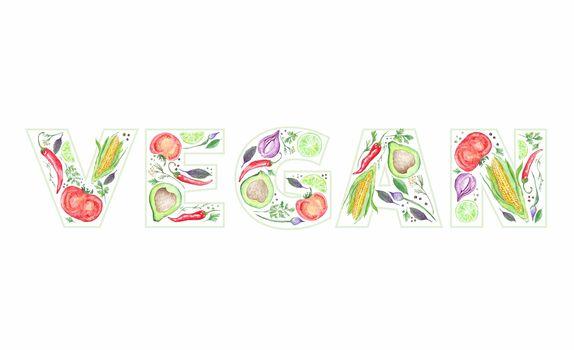 Vegan Lettering Made of Food