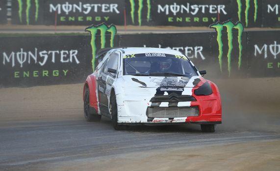 ISTANBUL, TURKEY - OCTOBER 03, 2015: Alexander Hvaal drives Citroen DS3 of JC Race Teknik Team in FIA World Rallycross Championship.
