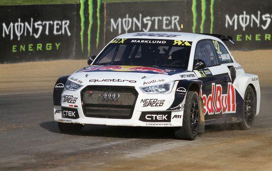 ISTANBUL, TURKEY - OCTOBER 03, 2015: Anton Marklund drives Audi S1 of EKS Team in FIA World Rallycross Championship.