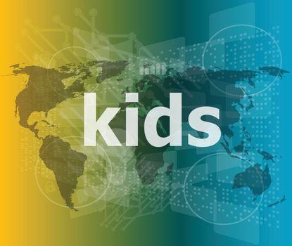 kid word on a virtual digital background, raster vector illustration