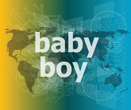 baby boy word on a virtual digital background vector illustration