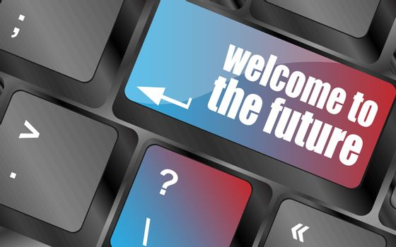 welcome to the future text on laptop keyboard key vector . keyboard keys, keyboard button, keyboard icon