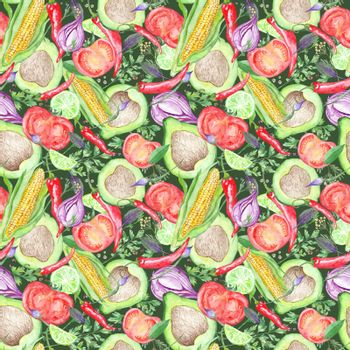 Seamless Texture with Watercolor Vegetables