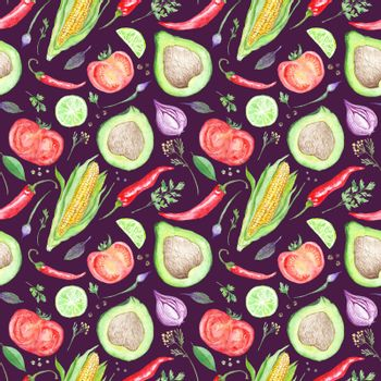 Watercolor Kitchen Vegetarian Pattern