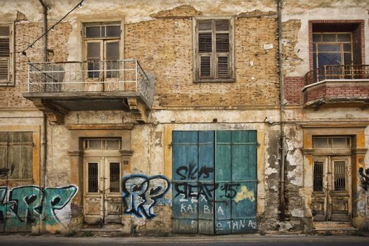 Larnaca, Cyprus - May 17, 2016: Older from of a building that needs repair
