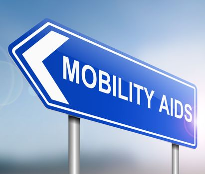 Illustration depicting a sign with a mobility aids concept.