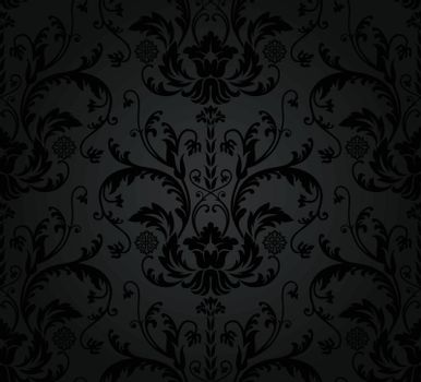 Charcoal seamless floral wallpaper pattern. This image is a vector illustration.