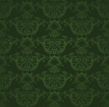 Seamless dark green floral wallpaper pattern. This image is a vector illustration.