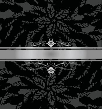 Luxury black and silver book cover with silver banner. This image is a vector illustration.