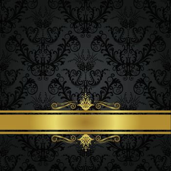 Luxury charcoal and gold book cover with golden banner.This image is a vector illustration.