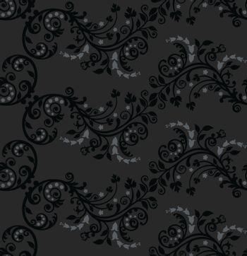 Seamless black and silver foliage wallpaper pattern. This image is a vector illustration.