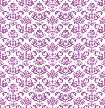 Seamless pink floral wallpaper on white. This image is a vector illustration.