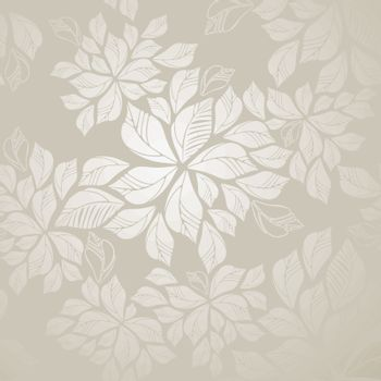 Seamless silver leaves wallpaper patter. This image is a vector illustration.