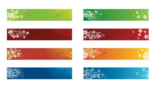 Set of eight Decorative seasonal floral borders. This image is a vector illustration.