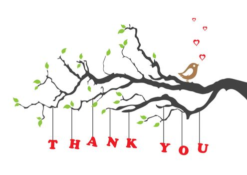 'Thank you' greeting card with bird sitting on a tree branch. This image is a vector illustration.