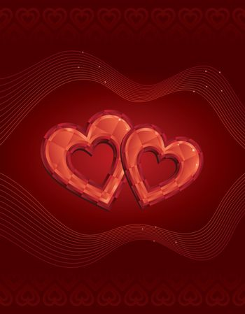 Two red diamond Hearts Valentines day love greeting card. This image is a vector illustration.
