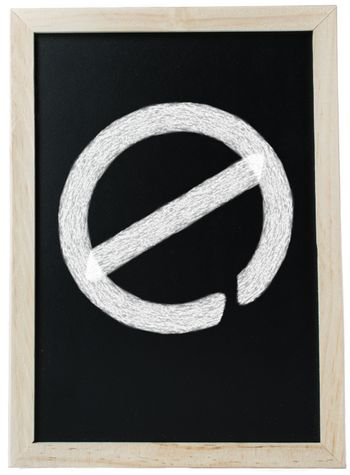 A chalk board, which is meant to signify education, with a 'no access' traffic sign written in chalk, implying that there is a barrier.